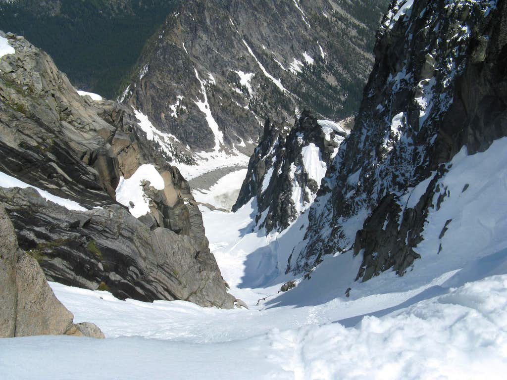 Looking down the couloir from the top