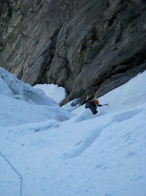 The bottom part of the glacier - skirting the ice-cliff to the left