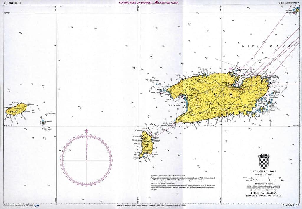 nautic map Svetac Bisevo Vis