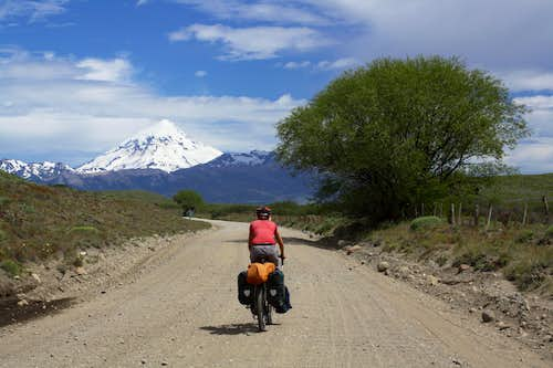 Cycling to Volcan Lanin