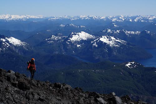 Just above Refugio CAJA on the descent of Volcan Lanin