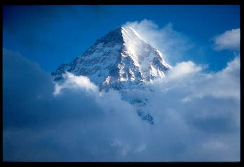 K2\'s summit near sunset as...
