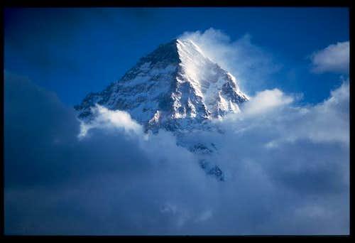 K2's summit near sunset as...