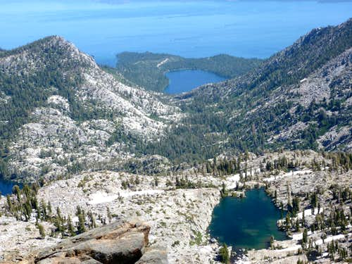 Kalmia Lake, Cascade Lake, and Lake Tahoe from Janine Peak