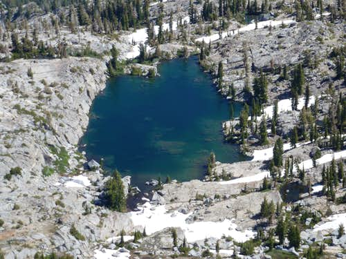 Zoom shot of Kalmia Lake from the summit