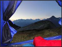 Morning view from the tent at Lunghin lake