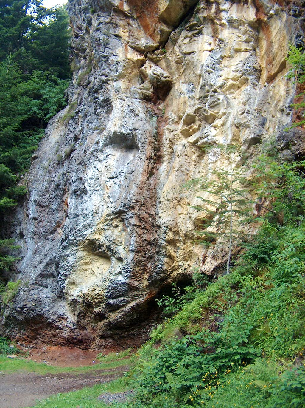 Yellow colorated waterfall (sulfur ?)