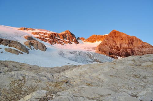 Marmolada\'s glacier at dawn