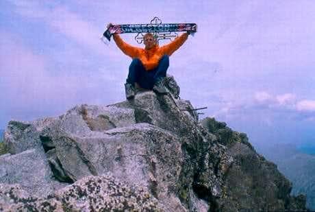 Sitting on the narrow summit...