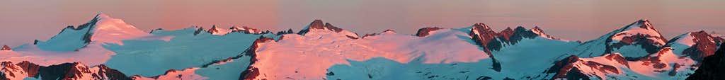 Sunrise on Eldorado, Klawatti, and Primus Peak