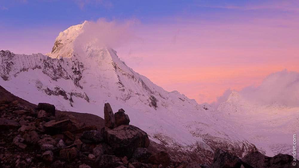 Alpenglow on SE Arete (and SE face) - Artesonraju