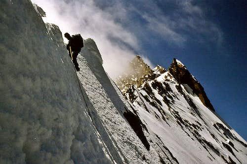 Descending to Domjoch from Taschhorn 4490m