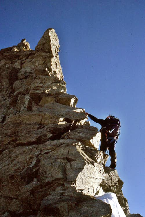 Steep rock on south ridge of Taschhorn 4490m