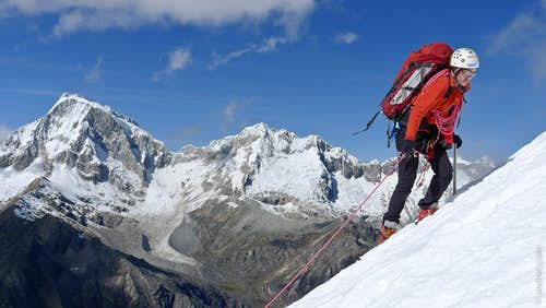 Climbers approaching summit