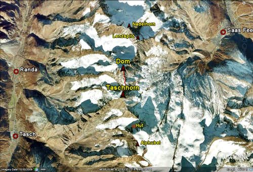 Google Earth image Tasch-Dom traverse