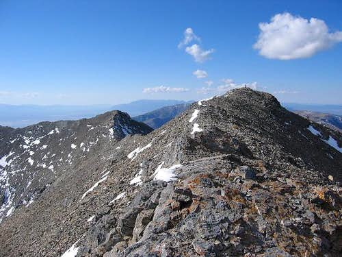 Looking south to the summit...