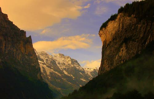Grosshorn from Lauterbrunnen valley during the first sunrays touch the rocks