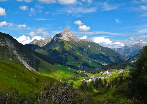 The village of Warth and the Biberkopf (2599m)
