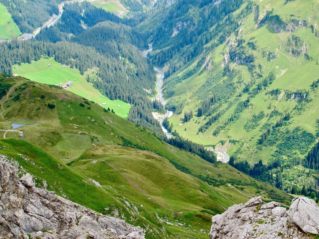 Very steep view to the river Lech from the top of Karhorn (2416m)