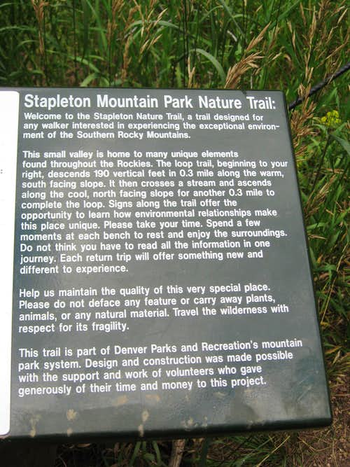 Stapleton Mountain Park Nature Trail (Braille Trail)