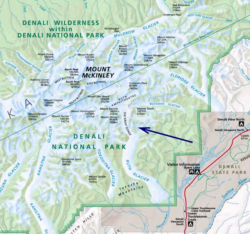 Denali National Park Topographic Map.The Great Gorge Of The Ruth Glacier Canyoneering Summitpost