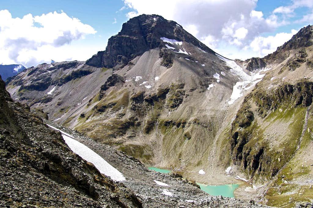 Gran Becca du Mont also Bec de l'Ane & Saint Grat Lake from L'Arp Vieille September 2004