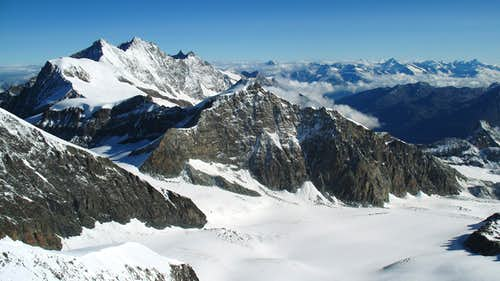 looking from the top towards Allalinhorn, Mischabel and Bernese Alps