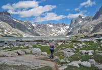 Hiking through Titcomb basin