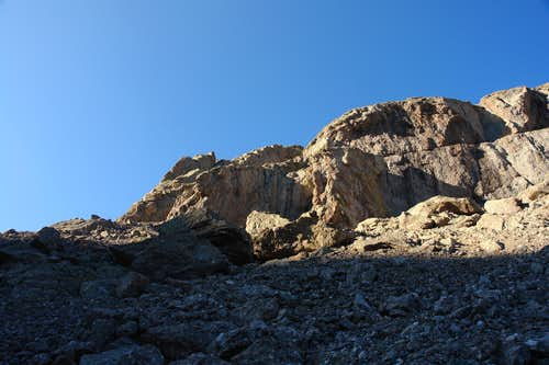 Lower cliffs at the base of the North Ridge