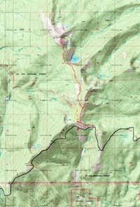 Topo map of trail oute for Window and Lookout Moutain