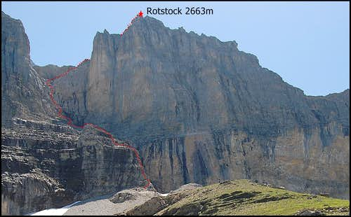Via Ferrata route on Eiger Rotstock