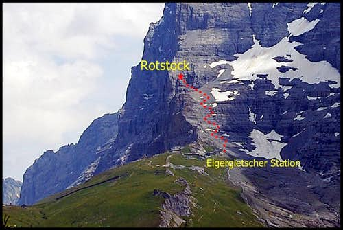 Easy ascent/descent route Eiger Rotstock