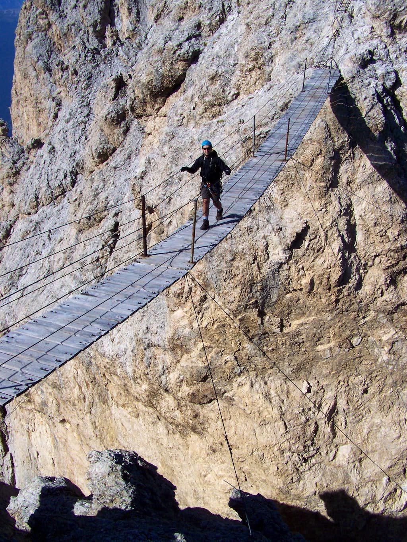 The famous suspension bridge of Cristallo