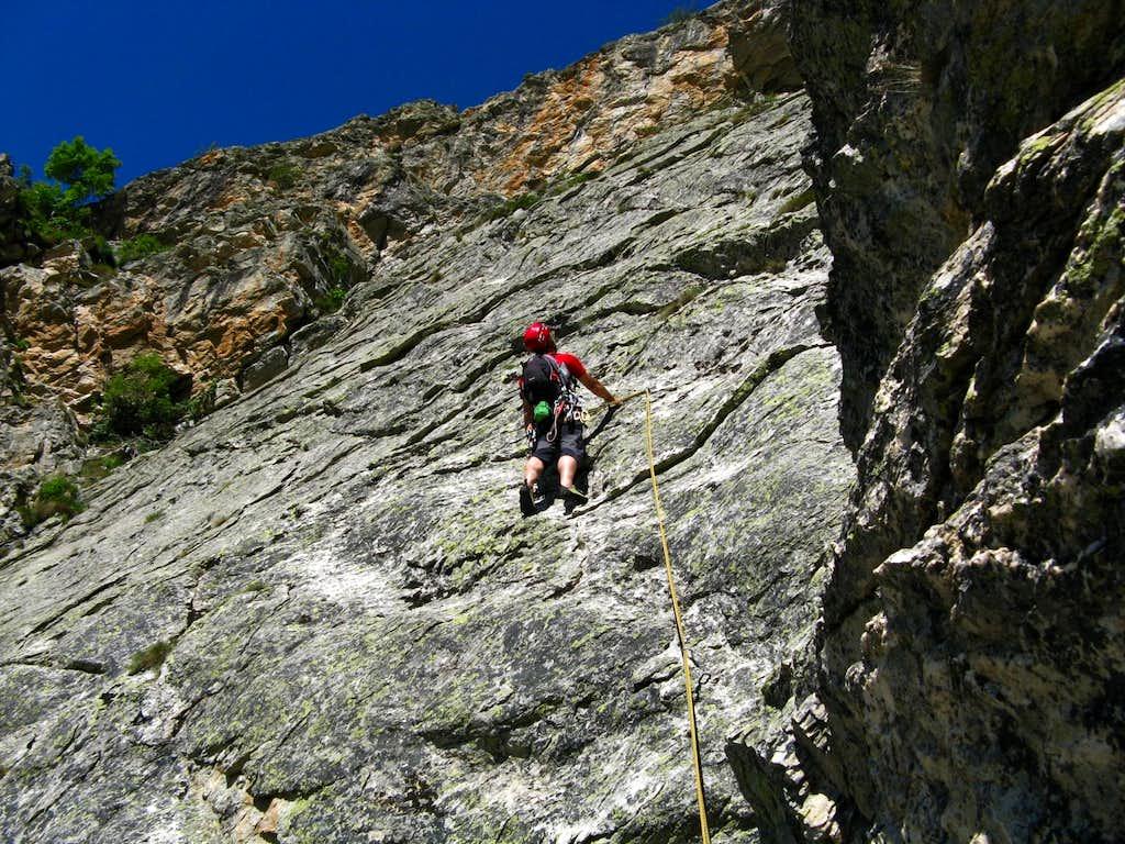 Gaia Ridge fourth pitch slabs, Croce Provenzale