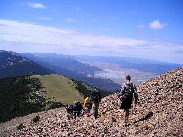 Heading down Baldy Mountain....