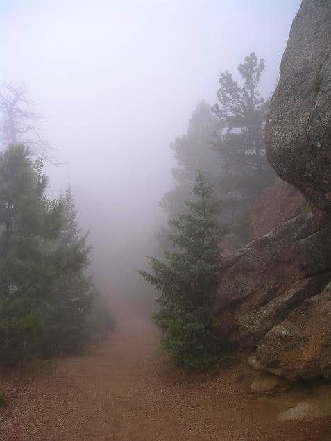 A foggy hike on Pikes Peak\'s...