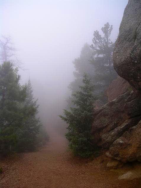 A foggy hike on Pikes Peak's...