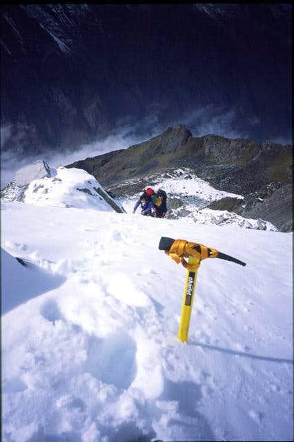 Yang on steep snow at end of...