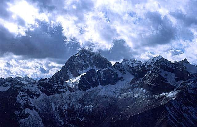 North wall of tallest peak on...