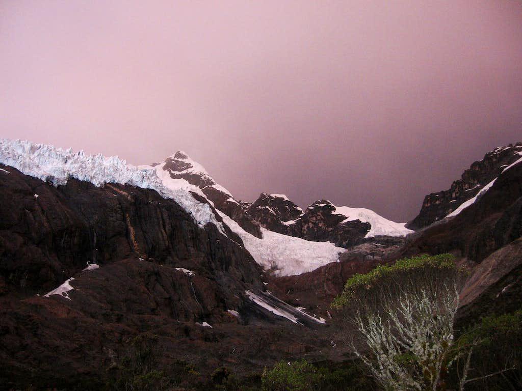 Maparaju - A stormy sunset at Base Camp