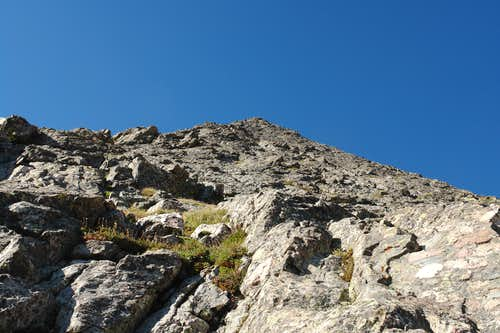 Looking up the middle and upper sections of the ridge