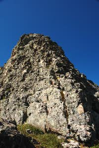 Looking up the steeper section on the upper ridge