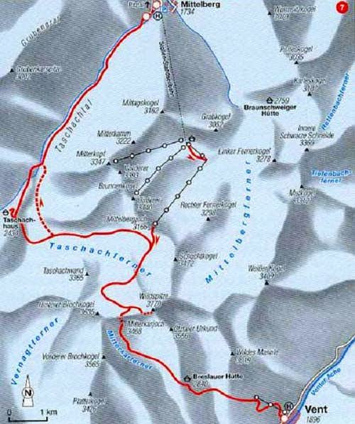 Wildspitze, map