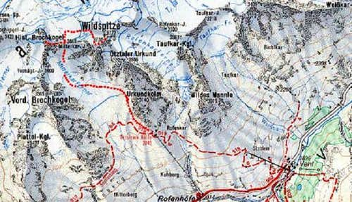 Wildspitze, map of the normal...