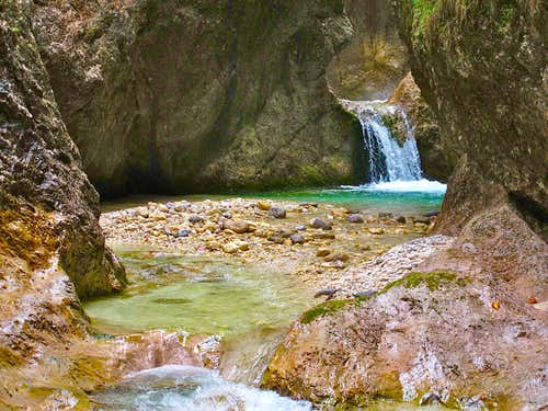 In the Almbachklamm gorge