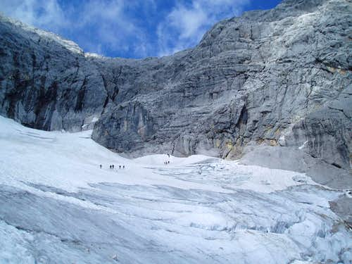 Crossing the Höllentalferner-glacier