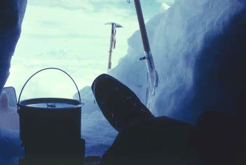 My boot, from inside ice cave...