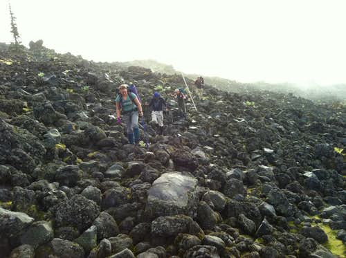 Crossing Lava Field on Loowit Trail