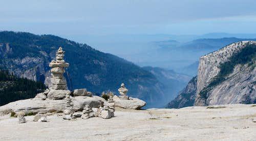 Half Dome summit cairns