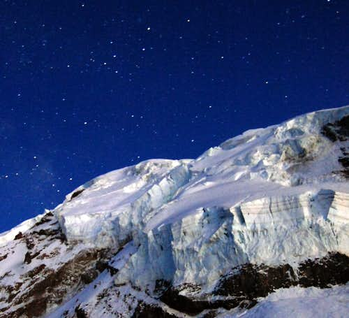 Mt Rainier ice cliff at night